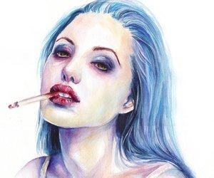 Angelina Jolie, deviantart, and smoke image