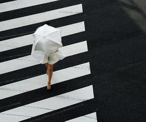 girl, street, and umbrella image