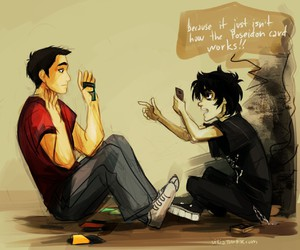 nico di angelo, percy jackson, and frank zhang image
