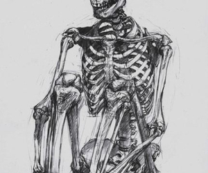 black & white, drawing, and sit image