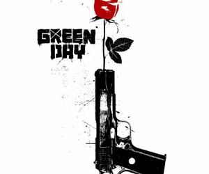 green day, rose, and gun image