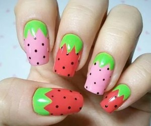 nails, strawberry, and nail art image