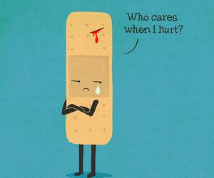 hurt, sad, and care image