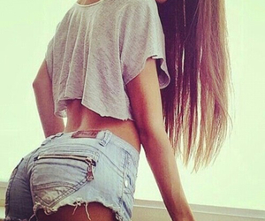 brunette, long hair, and tan image