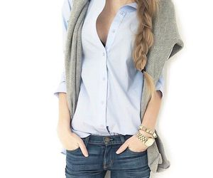 blue shirt, grey sweater, and style image