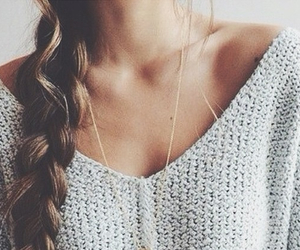 braid, sweater, and girl image