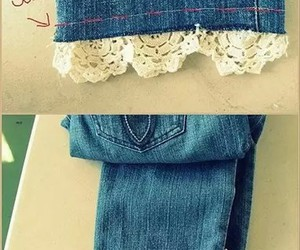 diy, jeans, and lace image