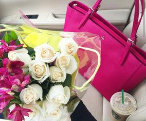 rose, flowers, and starbucks image