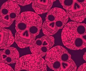 skull, pink, and wallpaper image