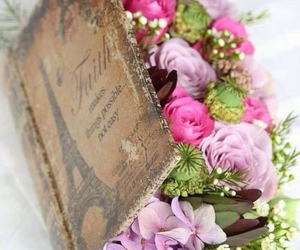 flowers, book, and paris image