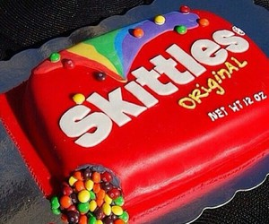 cake, skittles, and delicious image