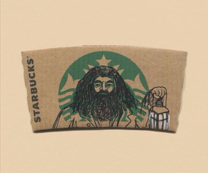 starbucks, hagrid, and harry potter image