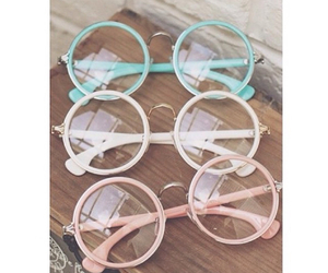 pink, glasses, and blue image
