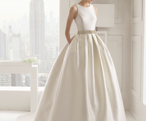 dress, bride, and white image