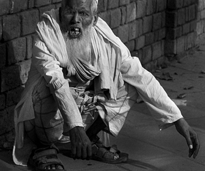 b&w, india, and beggar image