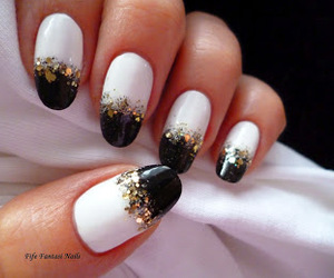 manicure and black and white nails image