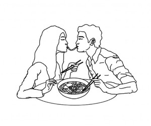 couples, outlines, and sweet image
