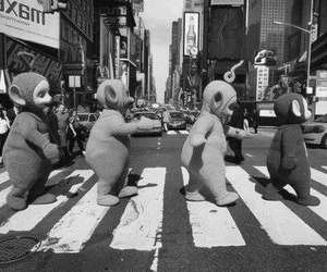 black and white, grunge, and teletubbies image
