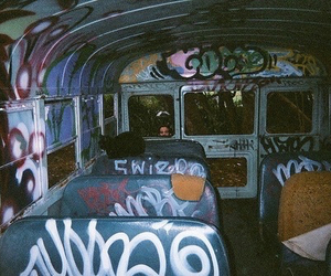 grunge, bus, and graffiti image