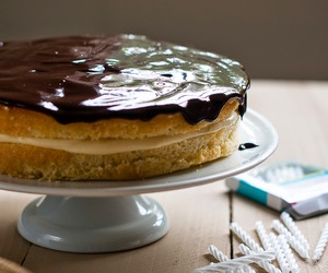 cake, chocolate, and custard image