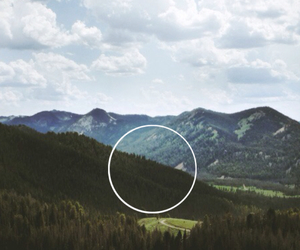 circle, hipster, and mountains image