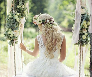 wedding, dress, and flowers image