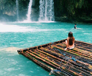 boat, waterfall, and girl image