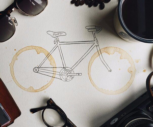 bicycle, cafe, and coffee image