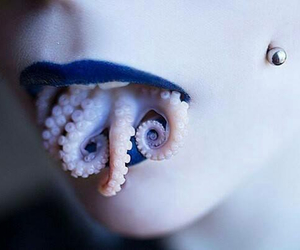 lips, octopus, and piercing image