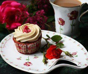 cupcake, rose, and cup image