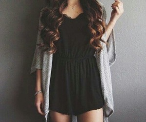 black, hair, and clothes image