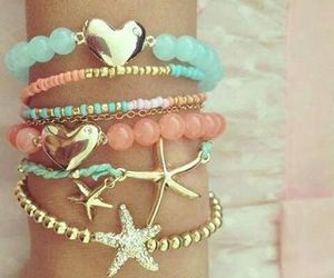 bracelet, heart, and stars image