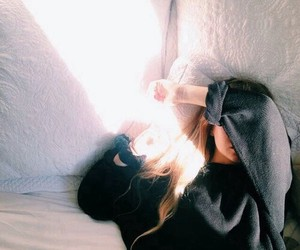 girl, bed, and sun image