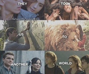 harry potter, narnia, and divergent image