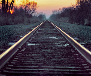 train, sunset, and railway image