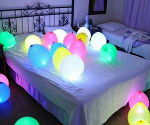 balloons, light, and bed image