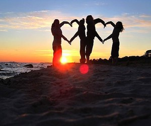 love, heart, and beach image