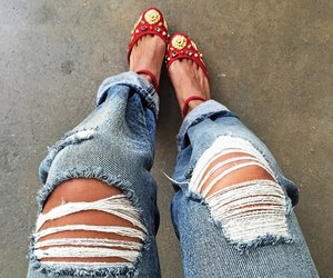 denim, ripped jeans, and style image