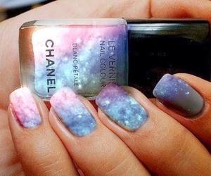 nails, chanel, and galaxy image