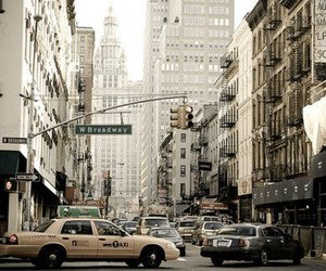 city, broadway, and new york image