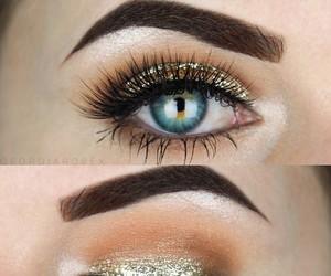 make up, makeup, and gold image