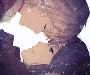 galaxy, love, and anime couple image