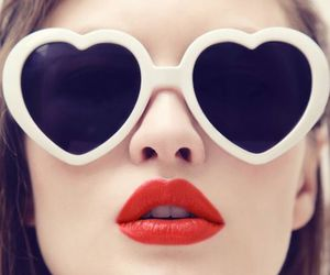 red, heart, and lips image