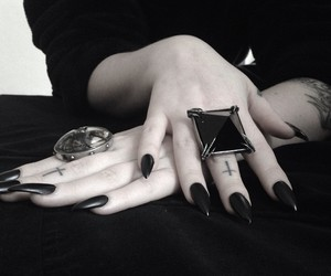 black, gothic, and nails image