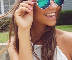 blue, girl, and sun glasses image