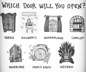 narnia, hogwarts, and door image