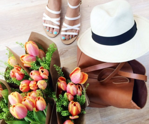 flowers, hat, and bag image
