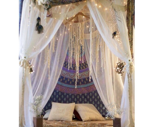 bed, big bed, and bohemian image
