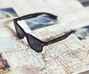 map, sunglasses, and travel image