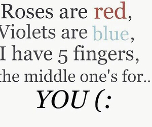 blue, middle finger, and red rose image